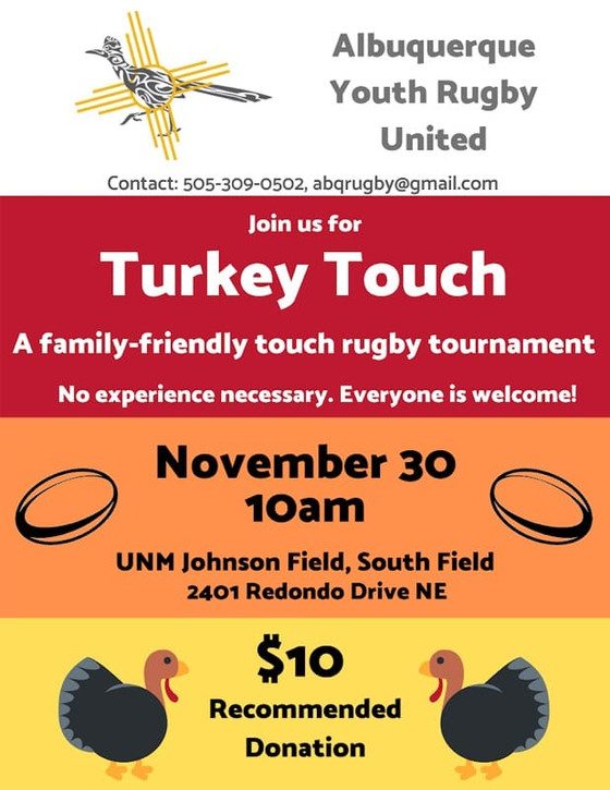 Turkey Touch Rugby and Food Drive this Saturday, Rugby is Drag tickets available and other November