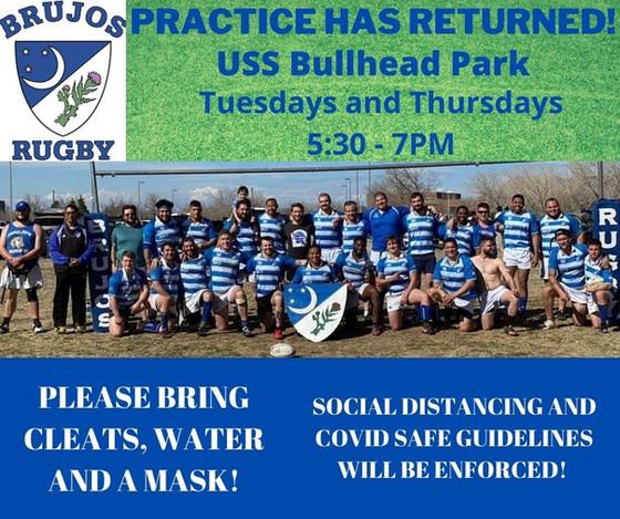 NM Brujos Rugby Practice Resumes! Atomic Sisters Return to Practice, ARYU Rookie Rugby Off This Week