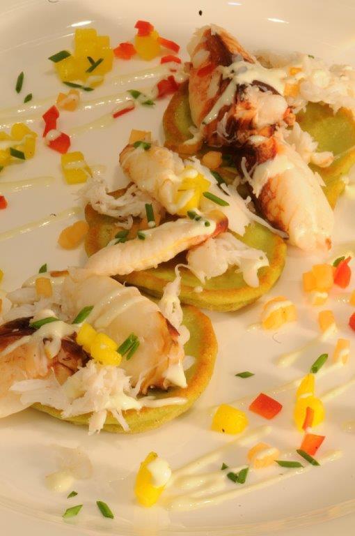 Crab and Avocado Blini
