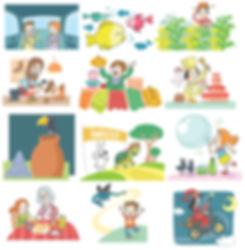 ilustraciones para libro de texto, Santillana, dibujos infantiles, ilustrador juan josé ©