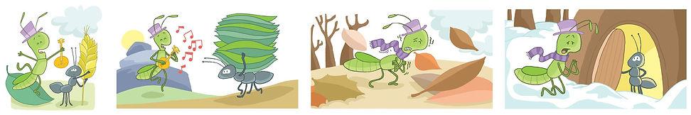 La hormiga y la Cigarra, Cuento Libro de texto ilustrado, ilustración, juan josé ilustrador