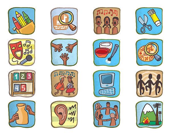 iconos para libro de texto, Lenguas originarias de Chile, ilustraciones infantiles, Dibujo, juan josé © ilustrador