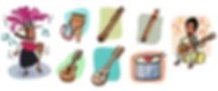 instrumentos musicales tradicionales, étnias de Chile, Libro de texto, dibujos, ilustrador juan josé
