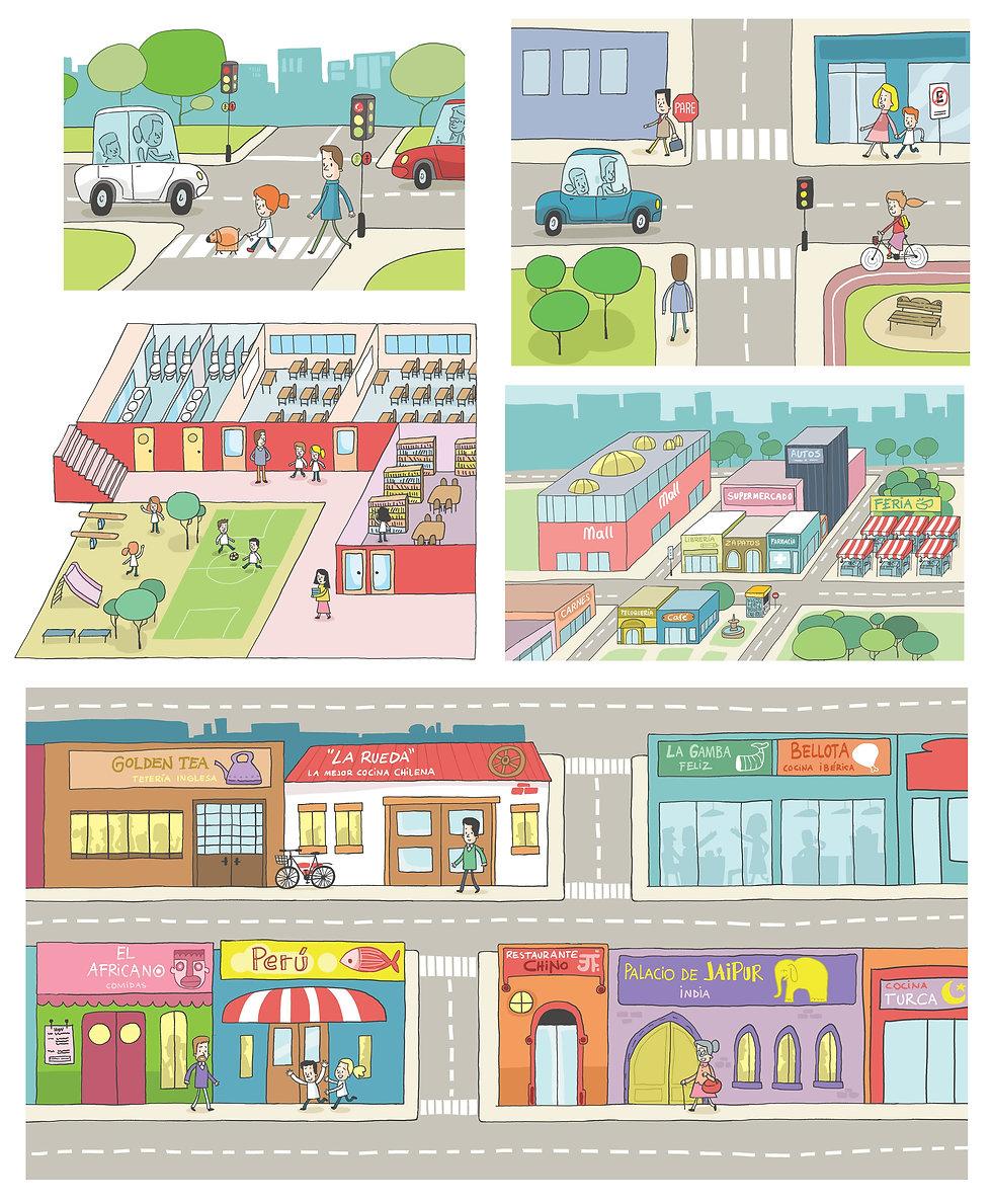 ilustraciones Lugares y Tránsito, Libro de texto Santillana, Historia, ilustrador juan josé ©