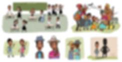 ilustración niños y familias, Libro de texto Lenguas originarias, Dibujos infantiles, juan josé ilustrador ©