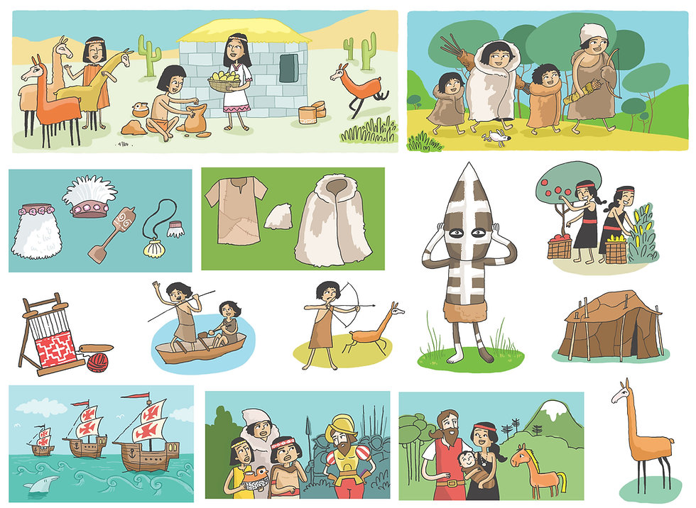 ilustracione habitantes originarios. Libro de texto Historia, santillana, Dibujos infantiles, juan josé ilustrador