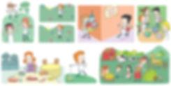 ilustración para libro de texto Historia, Santillana, escenas de niños y niñas, educación, ilustrador juan josé ©