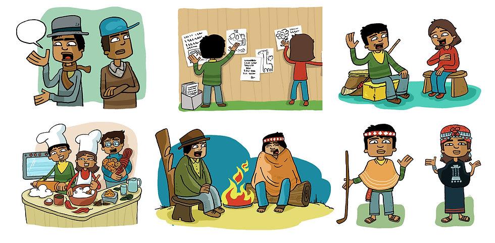 ilustración niños y niñas Mapuches, familia, Cocina, comida, costumbres,. Libros de texto, Chile, dibujo cultura, ilustrador juan josé ©