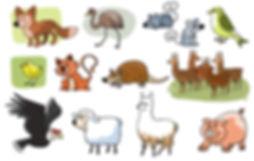 ilustración de Animales del norte de Chile, Libro de texto Lenguas originarias, Dibujos animales, ilustrador juan josé ©