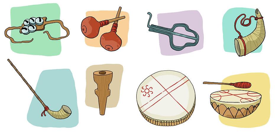 Instrumentos musicales Mapuches, Libro de texto lenguas originarias, ilustración infantil educación, Chile, juan josé ilustrador