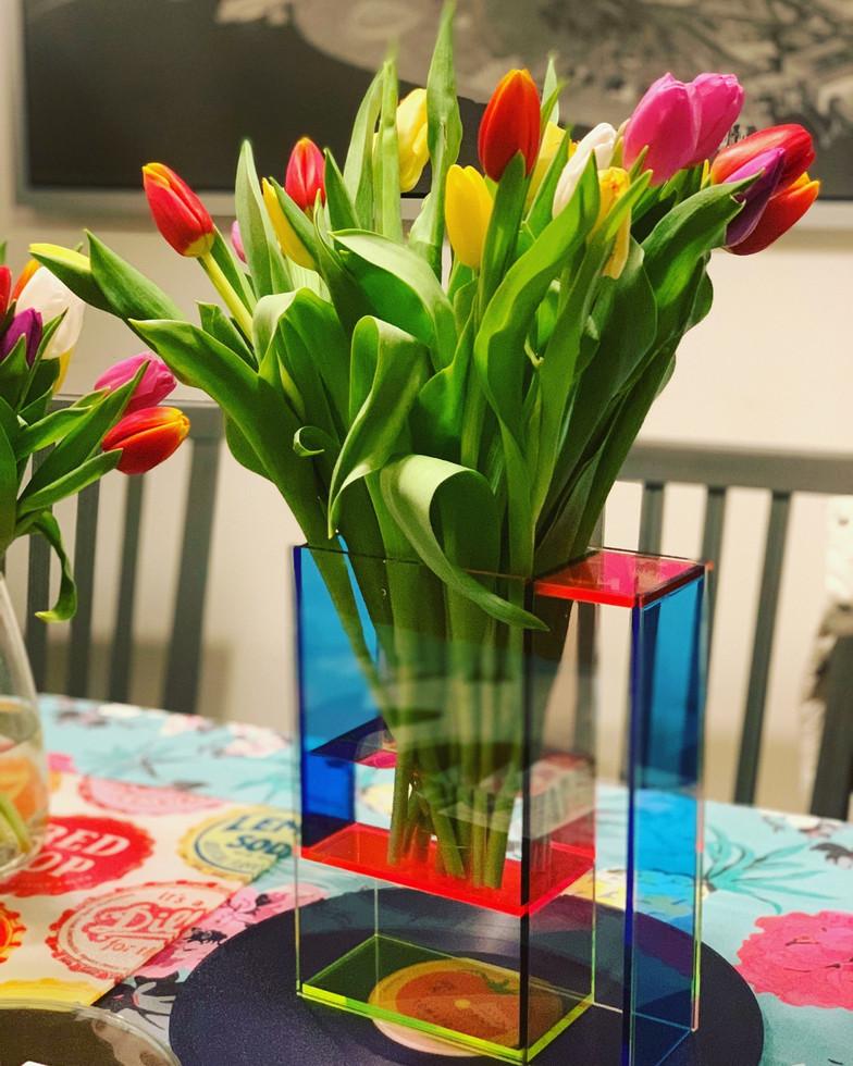 Neon Mondry Vase & Tulips