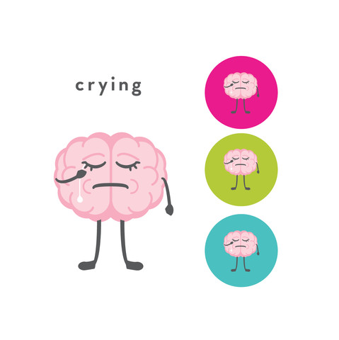 The CogniDiet Crying Brain Illustration