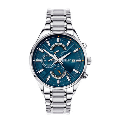 Sekonda Gents Blue Dial Dual Time Watch