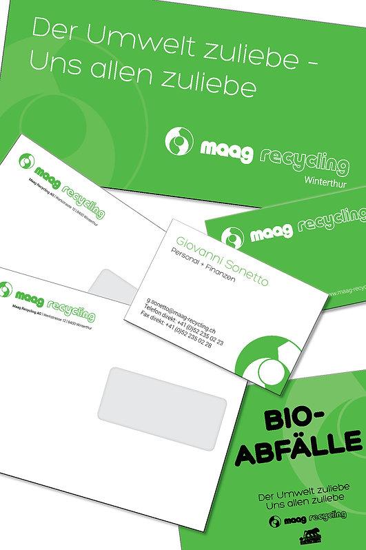 Grafik, Gestaltung, Produktionskoordination, Couvert, Visitenkarten, Containerbeschriftung, Blache, Maag Recycling AG