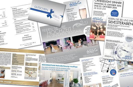 Grafik, Gestaltung, Produktionskoordination, Factsheet, Gutschein, Inserat, Speisekarte, Flyer, Broschüre, Hotel Banana City Winterthur, Hotel illuster Uster