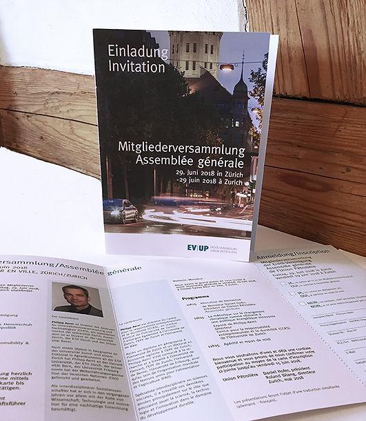 Konzept, Gestaltung, Satz, Bildbearbeitung, Einladung Mitgliederversammlung 2018, Erdöl-Vereinigung
