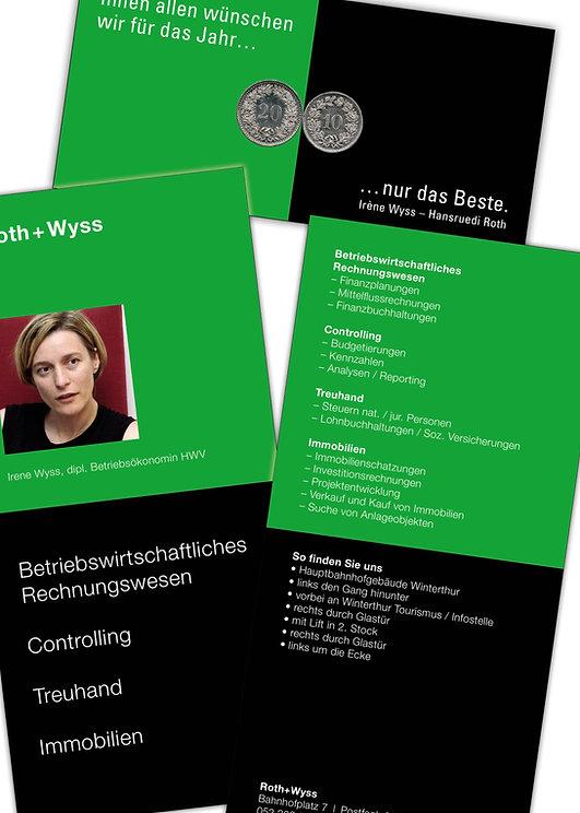 Gestaltung, Satz, Bildbearbeitung, Produktionskoordination, Firmenflyer, Neujahrskarte, Roth + Wyss