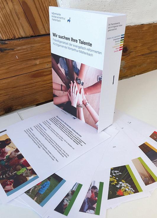 Konzept, Gestaltung, Satz, Bildbearbeitung, Produktionskoordination, Freiwilligen Broschüre, Wir suchen Talente Mappe, Evangelisch-reformierte Kirchgemeinde Winterthur-Mattenbach