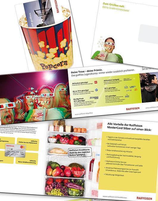 Gestaltung, Satz, Bildbearbeitung, Mailing, Folder, Raffeisenbank