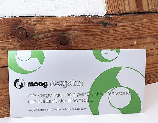 Grafik, Gestaltung, Produktionskoordination, Neujahrskarte, Weihnachtskarte, Maag Recycling AG