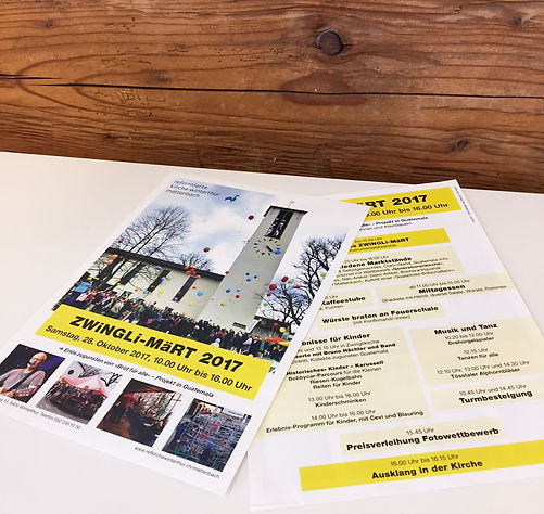 Gestaltung, Satz, Bildbearbeitung, Produktionskoordination, ZWiNGLi-MäRT Flyer, ZWiNGLi-MäRT Plakat, Evangelisch-reformierte Kirchgemeinde Winterthur-Mattenbach