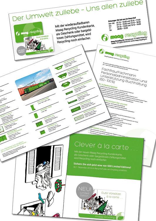 Grafik, Gestaltung, Produktionskoordination, Inserat, Jobinserat, Flyer, Broschüre, Maag Recycling AG