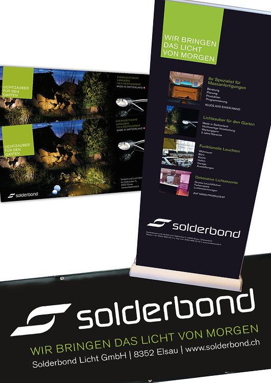 Gestaltung, Satz, Bildbearbeitung, Produktionskoordination, Inserat, Werbeblache, Rollup, Solderbond Licht GmbH