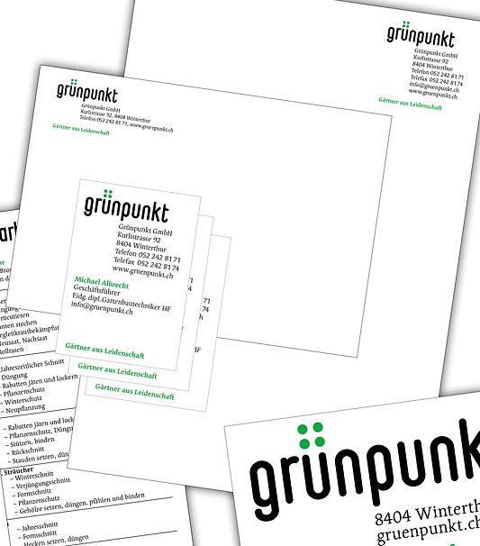 Gestaltung, Satz, Produktionskoordination, Briefpapier, Couverts, Visitenkarten, Kleber, Gärtnerei, Grünpunkt GmbH