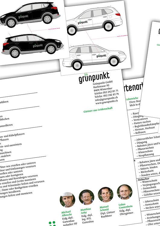 Gestaltung, Satz, Produktionskoordination, Autobeschriftung, Dienstleistungsfolder, Gärtnerei, Grünpunkt GmbH