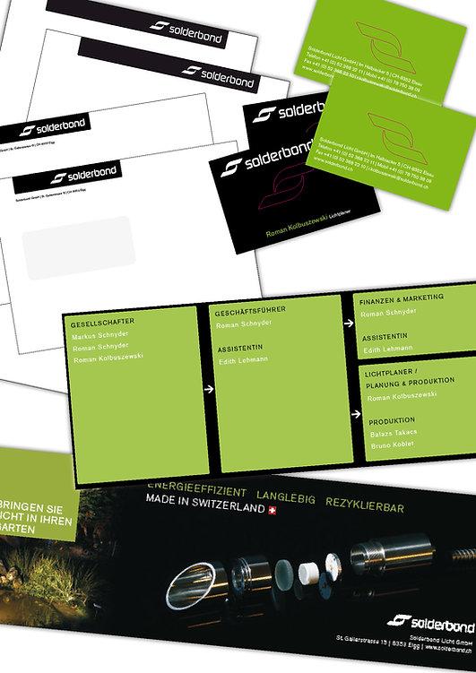 Gestaltung, Satz, Bildbearbeitung, Produktionskoordination, Briefpapier, Couverts, Visitenkarten, Inserat, Solderbond Licht GmbH