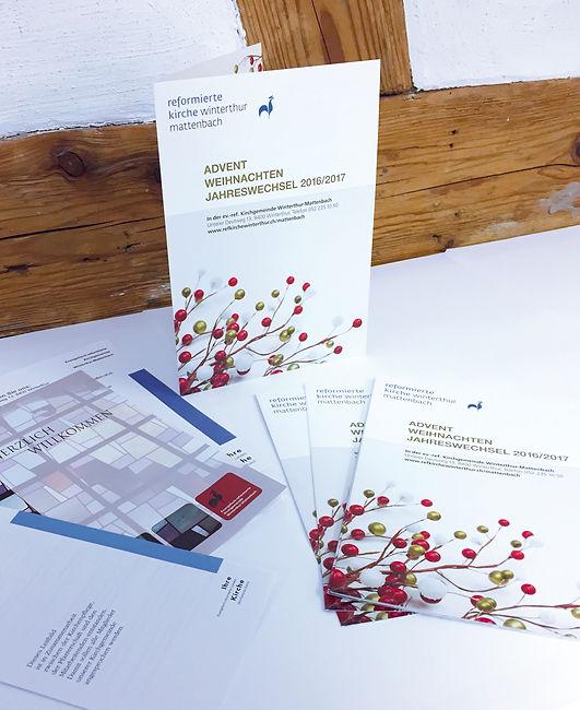 Gestaltung, Satz, Bildbearbeitung, Produktionskoordination, Weihnachtsflyer, Evangelisch-reformierte Kirchgemeinde Winterthur-Mattenbach