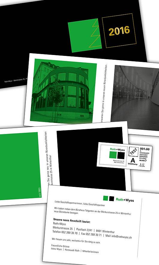 Gestaltung, Satz, Bildbearbeitung, Produktionskoordination, Weihnachtskarte, Umzugskarte, Neujahrskarte, Roth + Wyss