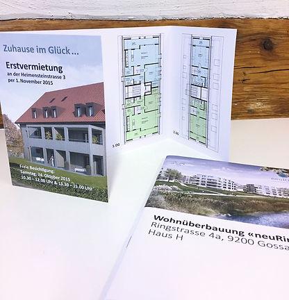 Grafik, Gestaltung, Produktionskoordination, Flyer, Immobilien Dokumentation, Erstvermietung, SISKA Heuberger Holding AG