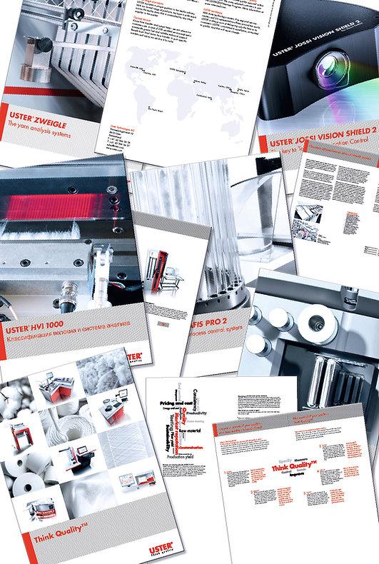 Grafik, Gestaltung, Broschüren, Produktbroschüren, Übersichtsbroschüre, Uster Technologie A