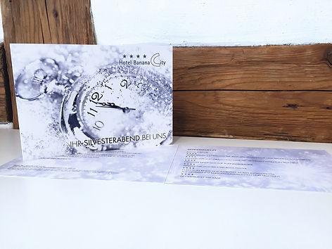 Grafik, Gestaltung, Produktionskoordination, Silvester, Folder, Flyer, Hotel Banana City Winterthur