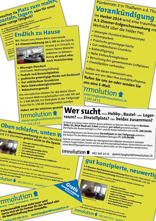 Gestaltung, Satz, Bildbearbeitung, Inserate, Wohnungs-Inserate, Image-Inserat, Immolution GmbH