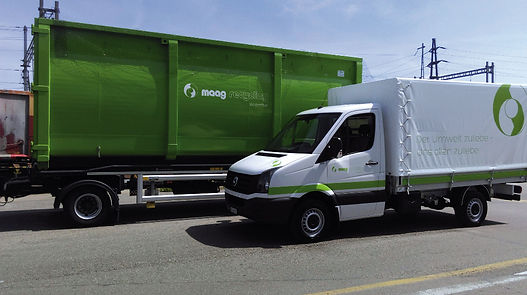 Grafik, Gestaltung, Produktionskoordination, Fahrzeugbeschriftung, Containerbeschriftung, Lieferwagenbeschriftung, Maag Recycling AG