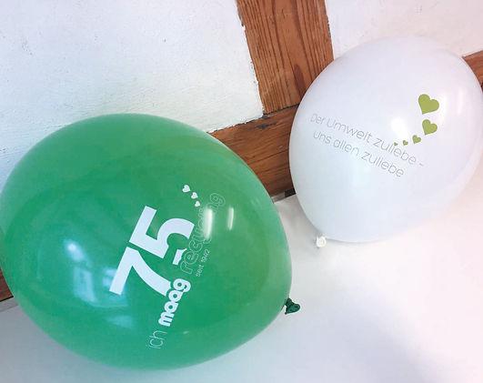Produktrechercher, Gestaltung, Produktionskoordination, Jubiläum, Ballone, Jubiläumsballone, Maag Recycling AG