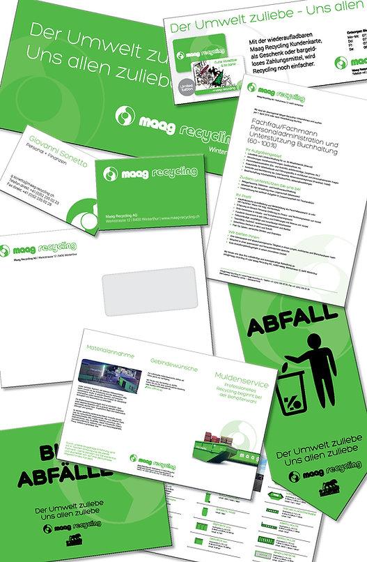 Grafik, Gestaltung, Produktionskoordination, Couvert, Abfallwimpel für die Musikfestwochen Winterthur, Inserat, Jobinserat, Flyer, Broschüre, Maag Recycling AG