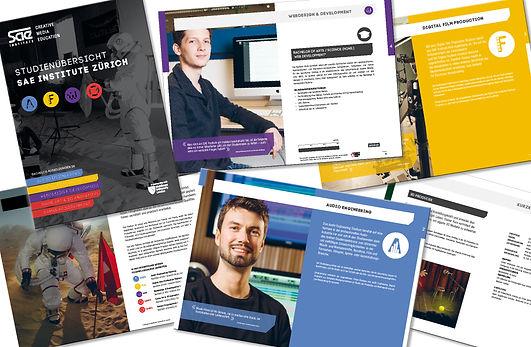 Gestaltung, Satz, Bildbearbeitung, Produktionskoordination, Studienbroschüre, Übersichtsbroschüre, SAE Institute Zürich