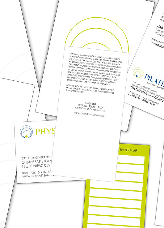 Grafik, Gestaltung, Briefschaften, Visitenkarten, Flyer, Physiotherapie, Therapie