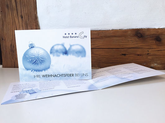 Grafik, Gestaltung, Produktionskoordination, Weihnachten, Folder, Flyer, Hotel Banana City Winterthur