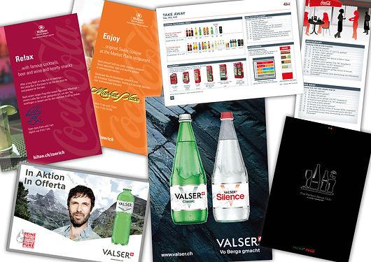 Gestaltung, Satz, Coca Cola, Valser, Hotelsheet, Mitarbeiter Guideline Book, Booklet, Folder, Inserat, Coca-Cola Schweiz GmbH