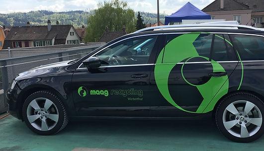 Grafik, Gestaltung, Produktionskoordination, Fahrzeugbeschriftung, Autobeschriftung, Maag Recycling AG