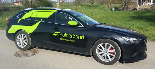 Gestaltung, Satz, Produktionskoordination, Fahrzeugbeschriftung, Autobeschriftung, Solderbond Licht GmbH