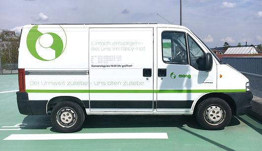 Grafik, Gestaltung, Produktionskoordination, Fahrzeugbeschriftung, Lieferwagenbeschriftung, Maag Recycling AG