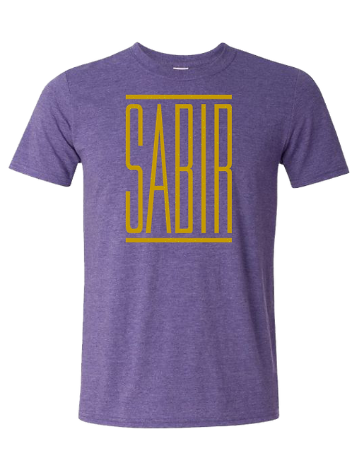 """Sabir"" T-Shirt Heather Purple w/ Gold"