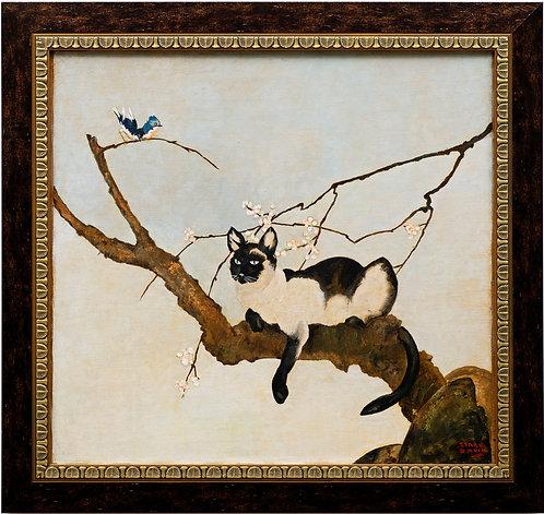 """""""Siamese Cat in Tree"""" Stark Davis (American, 1885-1950) circa 1920's"""