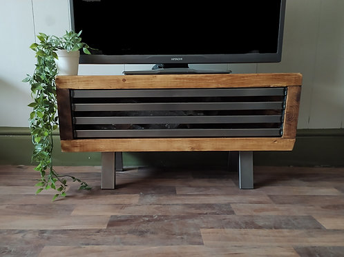 222: Tv stand rustic industrial  drop down front