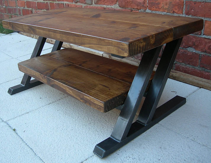178: Tv stand rustic shelf with metal Z frame